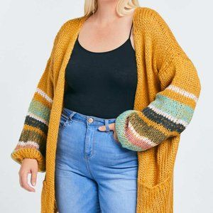 Plus Size Cardigan with Striped Sleeve Accents